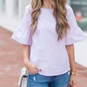 J. Crew Button Back Bell Sleeve Top Blouse Lilac
